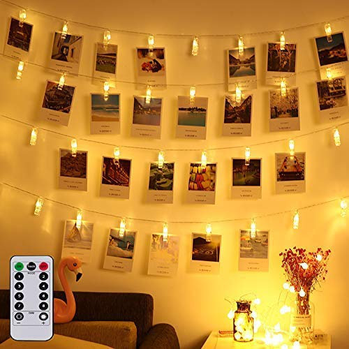 Magnoloran 20 Led Photo Clip Remote String Lights Battery Operated Fairy String Lights with 8 Modes Choice, 7.2 Feet, Warm White