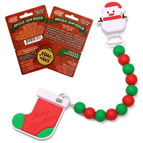 Holiday Stocking and Snowman Teething Toy on Beaded Pacifier Clip w/ Jammy Jams 'Holiday Hits Go Lullaby' Download Card