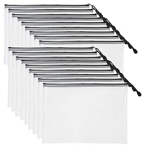 SUNEE Plastic Mesh Zipper Pouch (Black, 18 Packs) - 9x13 in Waterproof Zip Bag for School Office Supplies, Cross Stitch Organizing Storage