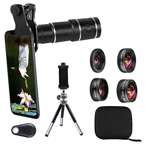 Phone Camera Lens Kit for iPhone, Android, 20X Telephoto Zoom Lens, Phone Wide Angle & Macro Lens, Fisheye, CPL Lenses Compatible with iPhone 12 11 X Xs XR 8 7 6 Plus Samsung and Other Smartphone
