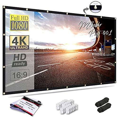 Mdbebbron 150 inch Projection Screen 16:9 Foldable Anti-Crease Portable Projector Movies Screen for Office Home Theater Outdoor Indoor Support Double Sided Projection