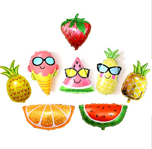 QLINLEAF 8pcs Colorful Fruit Foil Balloon Huge Pineapple Birthday Hawaii Party Decor Supply