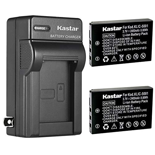Kastar 2-Pack Battery and Charger for Kodak KLIC-5001 Sanyo DB-L50 and Kodak EasyShare DX7630 DX7440 DX7590 DX7790 P712 P850 P880, EasyShare Z730 Zoom Z760 Zoom Z7590 Zoom, Sanyo Xacti Cameras