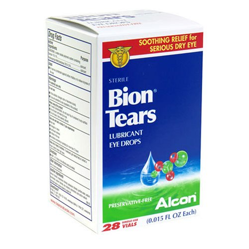 Bion Tears Lubricant Eye Drops, .015-Ounce Single-Use Vials in 28-Count Boxes (Pack of 2)