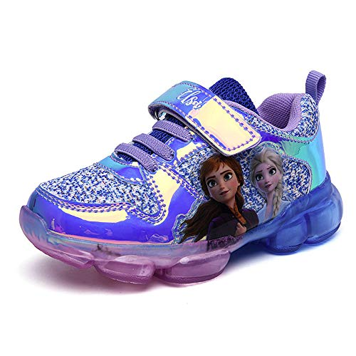 XDG Toddler Girls LED Light up Sneakers Princess Luminous Shoes(Purple,10 Toddler)