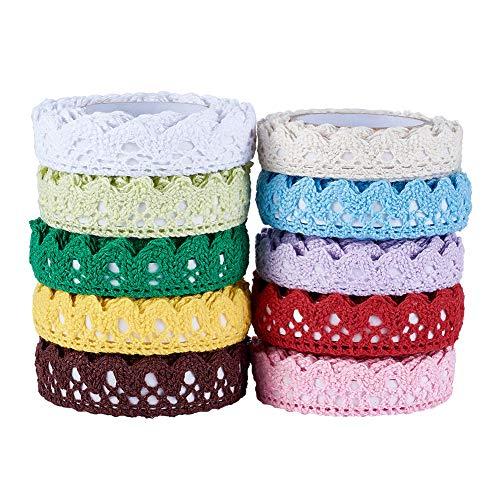 Fashewelry 10 Rolls Assorted Lace Fabric Trim Ribbon Tape Set 18mm Self Adhesive DIY Craft Scrapbooking Decorative Lace Tape (Style 2)