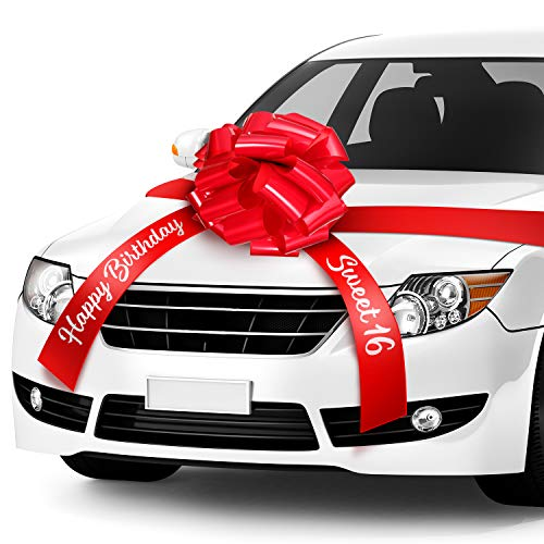 Happy Birthday Car Bow Sweet 16 Car Pull Bow Car Gift Wrapping Bow with 20 Feet Car Ribbon for Birthday Party Car Decorations (Red, 20 Inch)