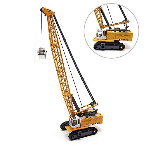 EMART Children Alloy Die-cast Car Model Toy Excavator Truck Digging Cable Engineering Vehicle Tower Crane Collection Gift for Kids Scale: 1:87