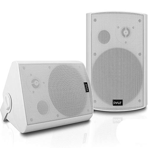 Outdoor Wall-Mount Patio Stereo Speaker - Waterproof Bluetooth Wireless & No Amplifier Needed - Portable Electric Theater Sound Surround System for Home Party Cabinet Enclosure- Pyle PDWR61BTWT White