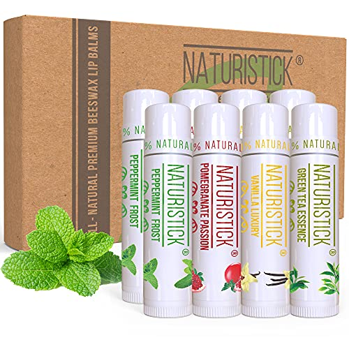 8-Pack Lip Balm Gift Set by Naturistick. Assorted Flavors. 100% Natural Ingredients. Best Beeswax Chapsticks for Dry, Chapped Lips. Made in USA for Men, Women and Children