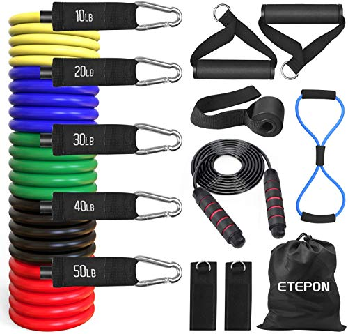 Resistance Bands Set, ETEPON Exercise Bands Set Stretch Workout Band with Handles, 5 Stackable Exercise Bands with Door Anchor, Ankle Straps, Carrying Pouch for Body Stretching, Home Gym Fitness, Yoga
