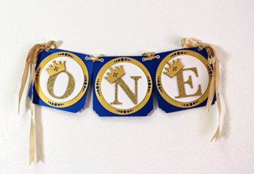 All About Details Royal Blue & Gold Prince Theme One High Chair Banner, 16.5 in long with 60 in ribbons
