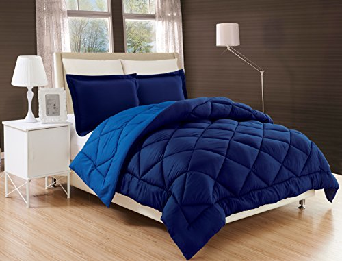 Elegant Comfort All Season Comforter and Year Round Medium Weight Super Soft Down Alternative Reversible 3-Piece Comforter Set, King, Navy Blue/Light Blue