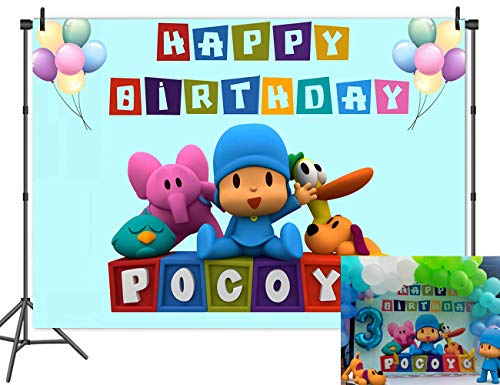 Blue Pocoyo Theme Photography Backdrop Kids Boys Happy Birthday Photo Cake Dessert Table Decor Decoration Background Newborn Baby Shower Studio Props Banner Photo Booth 7x5ft