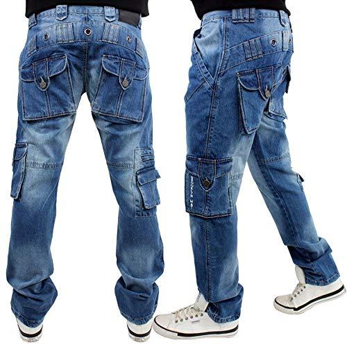 Brooklyn Mint Cargo Combat Straight Fit Stone Wash Jeans