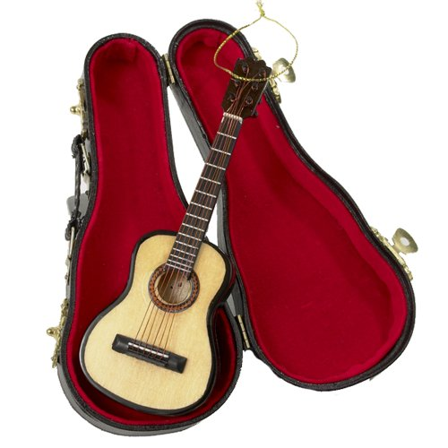 Kurt Adler 5.52' Wood Pearlized Guitar Ornament