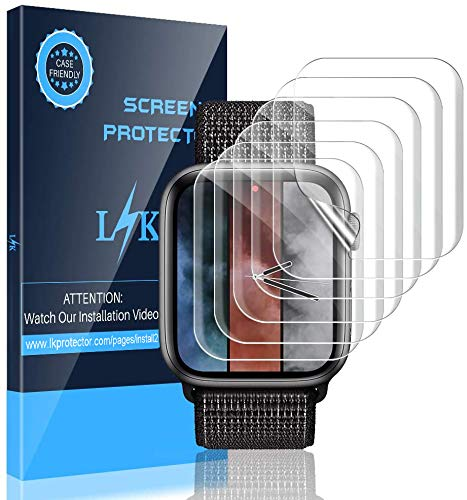 LK [6 Pack] Screen Protector for Apple Watch 44mm Series 4/5 - Max Coverage Bubble-Free Scratch-resistant iWatch 44mm Flexible TPU Film with Lifetime Replacement Warranty