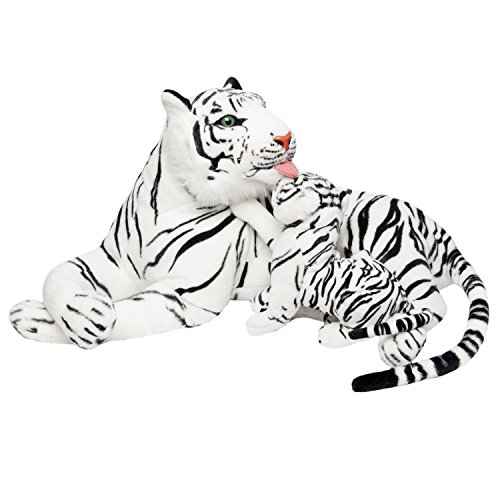BRUBAKER White Plush Tiger with Baby - 40 Inches - Soft Toy Stuffed Animal