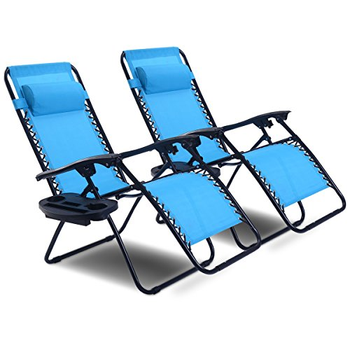 Goplus Zero Gravity Chair Set 2 Pack Adjustable Folding Lounge Recliners for Patio Outdoor Yard Beach Pool w/Cup Holder, 300-lb Weight Capacity (Light Blue)