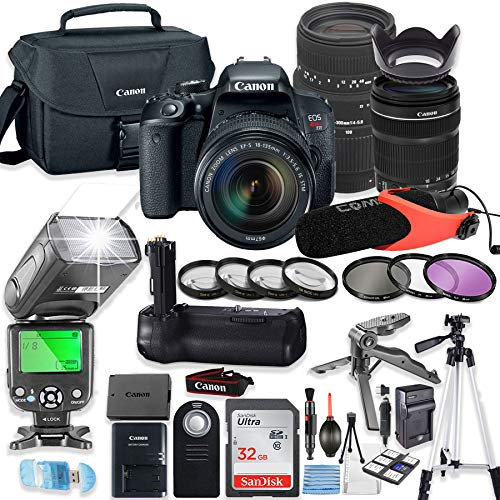 Canon EOS Rebel T7i DSLR Camera Bundle w/Canon 18-135mm STM Lens & Sigma 70-300mm Lens + Deluxe Battery Grip + 32GB Memory + Canon Case + TTL Flash (Good Upto 180 Ft) + Microphone + Accessory Bundle