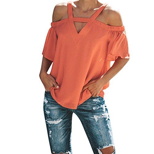 HIRIRI Womens Spaghetti Strap Cold Off Shoulder Tops T Shirt V Neck Halter Blouse Short Sleeve Summer Top Orange
