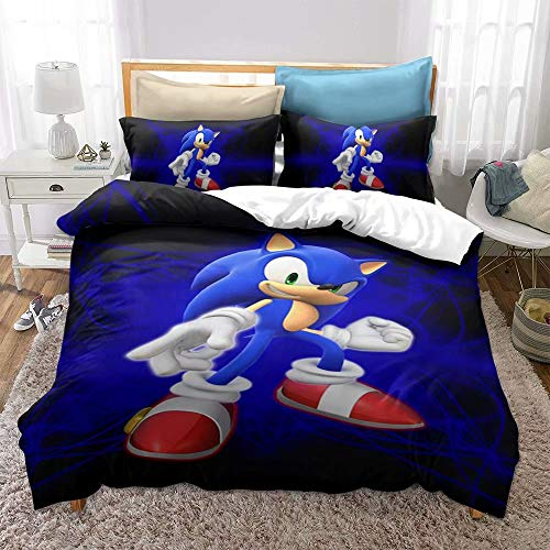Siyarar Sonic The Hedgehog Twin Size Bedding Set Bed Without Comforter Including 1 Duvet Cover 1 Pillow Cases S3