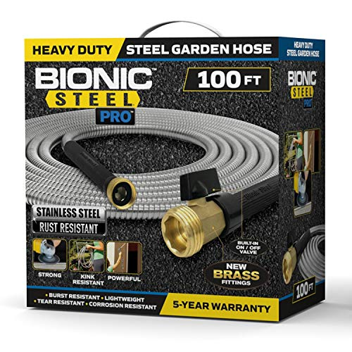 Bionic Steel PRO Garden Hose - 304 Stainless Steel Metal 100 Foot Garden Hose – Heavy Duty Lightweight, Kink-Free, and Stronger Than Ever with Brass Fittings and On/Off Valve – 2021 Model