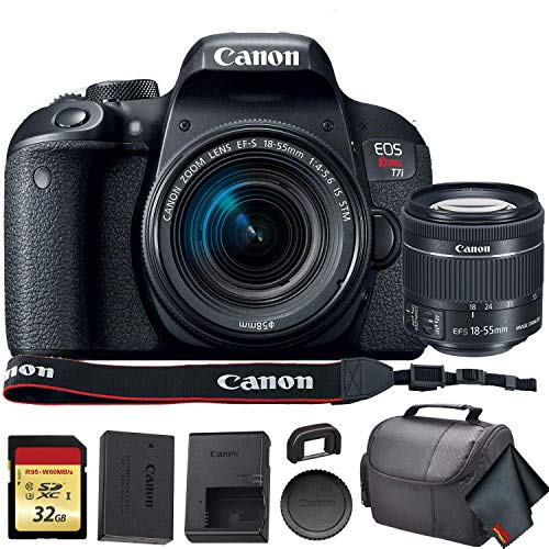 Canon EOS Rebel T7i DSLR Camera with 18-55mm Lens (USA Model) (1894C002) with 32GB Memory Card, Premium Soft Case, and More - Starter Bundle