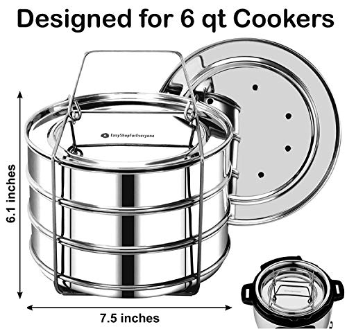 EasyShopForEveryone Stackable Insert Pans, Compatible with Instant Pot 6,8 Qt, Baking, Casseroles & Lasagna Pans, Food Steamer, Pressure Cooker Pot in Pot, Interchangeable Lids, Cook 3 Dishes at once