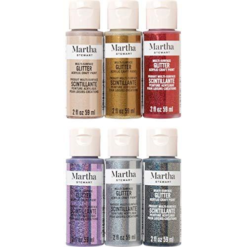 Martha Stewart Crafts 6 Color, Multi-Surface Acrylic Craft Paint Set, 2oz, Glitters