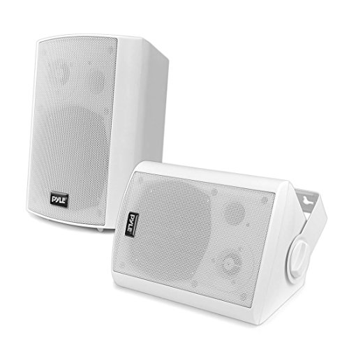 Wall Mount Home Speaker System - Active + Passive Pair Wireless Bluetooth Compatible Indoor / Outdoor Water-resistant Weatherproof Stereo Sound Speaker Set with AUX IN - Pyle PDWR51BTWT (White)