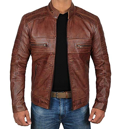Brown Moto Leather Jacket Mens - Quilted Men lambskin Leather Jackets   [1100064] Austin Brown, L