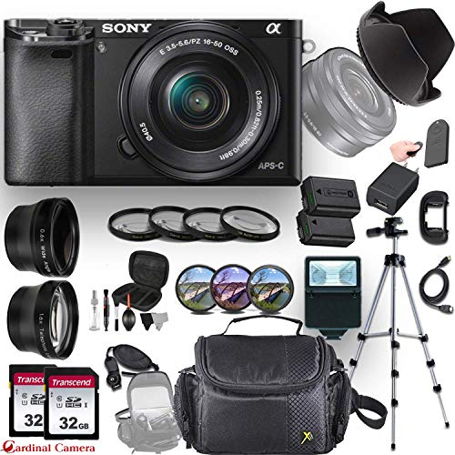 Sony Alpha a6000 (Black)E-Mount Mirrorless Camera with Sony E 16–50mm f/3.5–5.6 OSS Lens + Professional Accessory-Kit Bundle