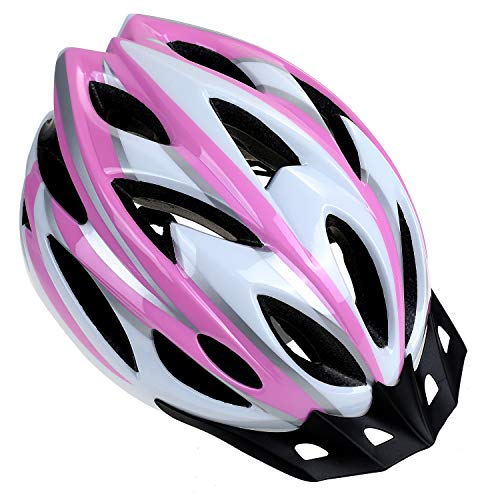 Zacro Adult Bike Helmet - CPSC Certified Cycle Helmet, Specialized for Womens Safety Protection, Collocated with a Headband, Pink Plus White Helmet