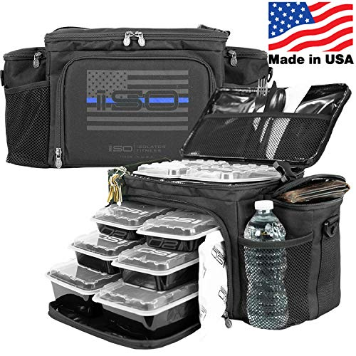 Meal Prep Insulated Lunch Bag - Isobag 6 Meal Thin Blue Line - Large Insulated 6 Meal Prep Bag/Cooler - Includes 12 Reusable BPA-Free Iso Containers, 3 Ice Packs & Padded Shoulder Strap