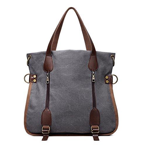 ELEOPTION Women's Simple Style Vintage Canvas Handbag Shoulder Bag Totes Shopper Hobo Bag for Women Girls Students (G-Grey)