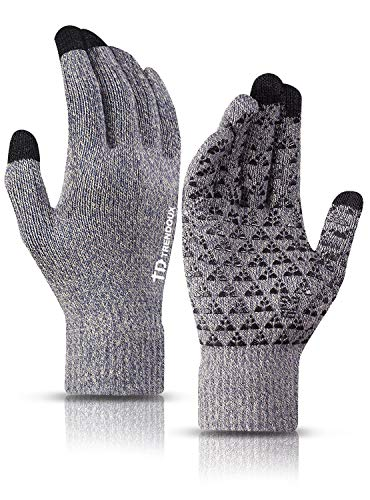 TRENDOUX Winter Gloves, Knit Warm Texting Touch Screen Gloves for Men Women - Anti-Slip - Elastic Cuff - Thermal Soft Wool Lining - Hands Warm in Cold Weather - Light Gray - M