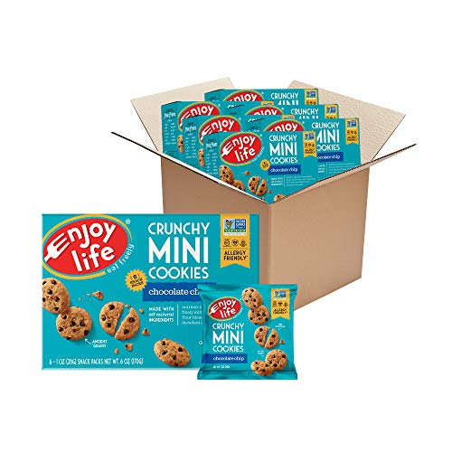 Enjoy Life Mini Chocolate Chip Soft Baked Cookies, Nut Free Cookies, Vegan, Gluten Free, 6 Boxes (6 Snack Packs Each)