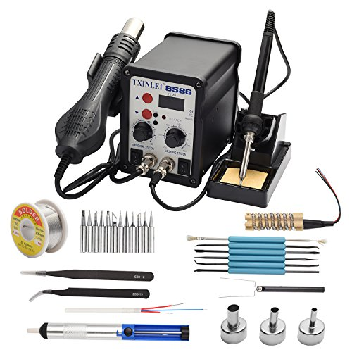 TXINLEI 8586 110V Solder Station, 2 in 1 Digital Display SMD Hot Air Rework Station and Soldering Iron, 12pcs Different Soldering Tips,Solder Wire,Tweezers,Desoldering Pump,700W 480℃