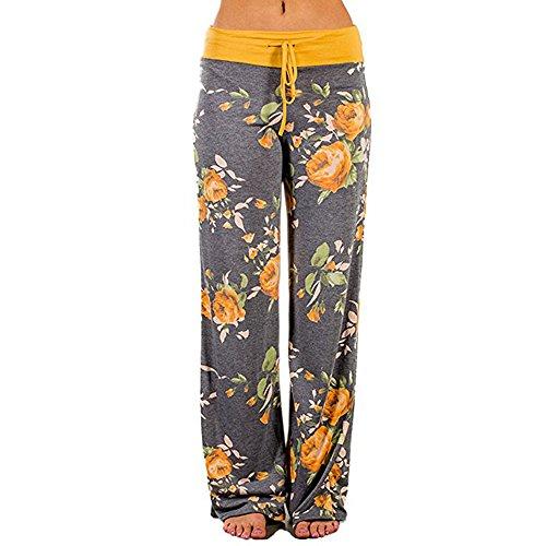 Women Pants Neartime Print Loose Casual Pants American Flag Drawstring Wide Leggings (M, Yellow)