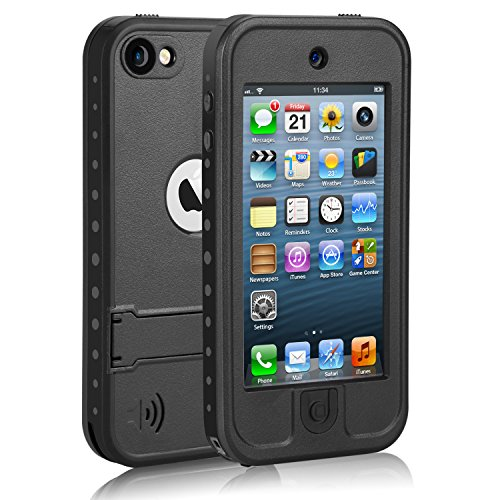 Meritcase Waterproof Case with Kickstand and Built-in Screen Protector for Apple iPod Touch 5/ 6/7 for Swimming Snorkeling Surfing- Black