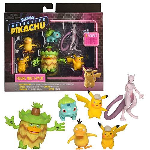 Pokémon Detective Pikachu Battle Figure 6pc Multi-pack - Comes with Two 2' Pikachu, 2' Psyduck, 2' Bulbasaur, 3' Mewtwo & 3' Ludicolo