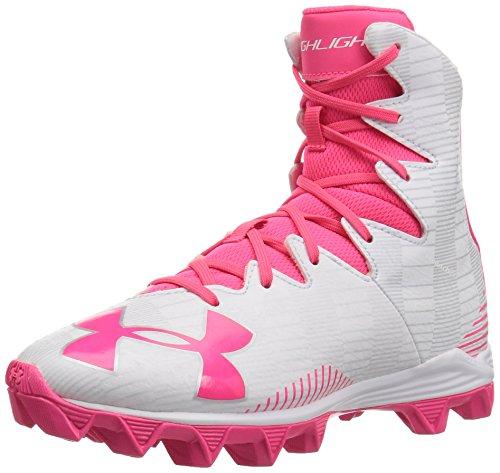 Under Armour Girl's Highlight Rubber Molded Lacrosse Shoe, White (131)/Penta Pink, 3.5