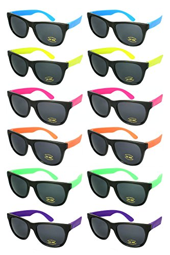 Edge I-Wear 12 Pack 80's Style Adult Neon Party Sunglasses Bridal Wedding Party Favors 5402R-SET-12