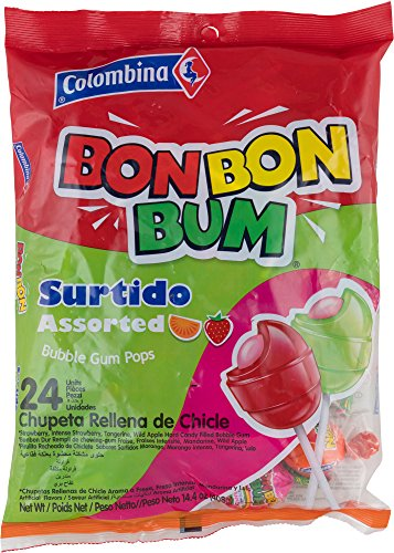 Colombina Bon Bon Bum Assorted Bubble Gum Lollipops, Pack of 24 Bubble Gum Pops
