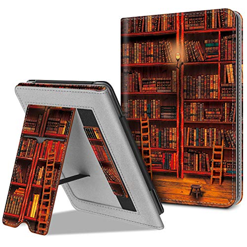 Fintie Stand Case for All-New Kindle (10th Generation, 2019) / Kindle (8th Generation, 2016) - Premium PU Leather Protective Sleeve Cover with Card Slot and Hand Strap, Library