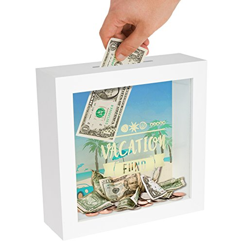Americanflat Money Saving Box with Slot - 6x6 Vacation Travel Fund Decorative Shadow Box Frame in White with Polished Glass for Wall and Tabletop