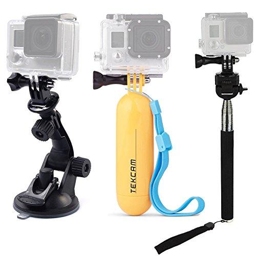 TEKCAM Action Camera Accessories Kits Bundle Compatible with Gopro Hero 8 7/AKASO EK7000/APEMAN/Campark/DBPOWER/Crosstour 4k Waterproof Camera Car Suction Cup Mount Floating Handle Grip Selfie Stick
