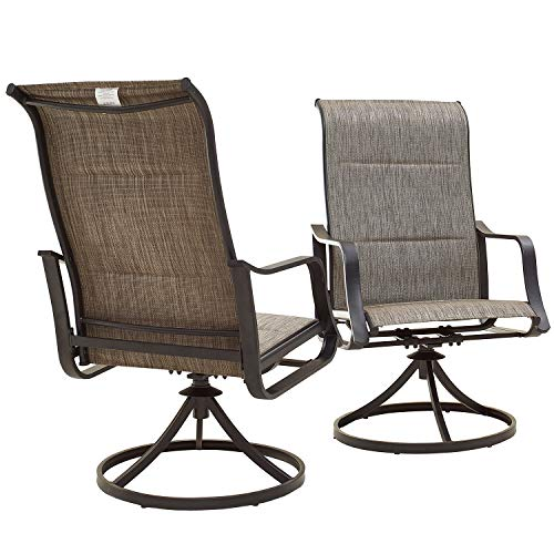 Top Space Patio Dining Chairs Textilene High Back Outdoor Swivel Rockers Set with All Weather Frame (Gray,Set of 2)