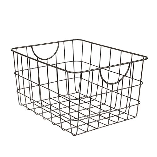 Spectrum Diversified Utility Basket, Sturdy Steel Wire Storage Solution, Curved Easy Grab Handles Decorative Organization for Toys, Pet Supplies, Clothing, Pantry & More, Industrial Gray